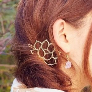Lotus Flower Hair Pin Clip One Lage Gold Color